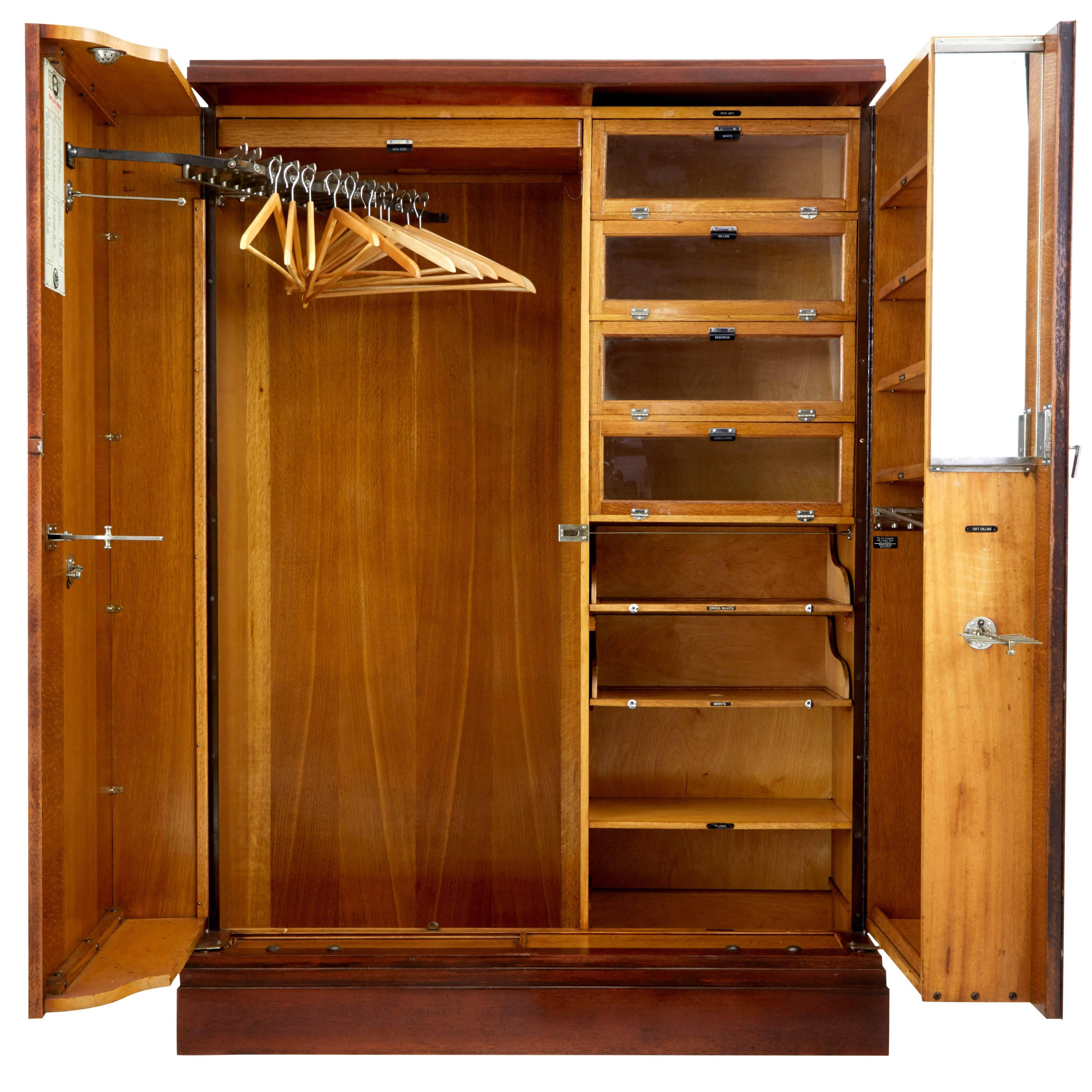 1930s, Mahogany And Oak Compactum Ltd Gentlemanu0027s Wardrobe For Sale