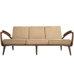 Stunning Dutch De Ster 1950s Organic Carved Walnut Stained Birch Three-Seat Sofa