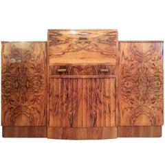 Art Deco Cocktail Sideboard in Figured Walnut Veneers