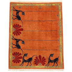 Vintage Tibetan Rug in Orange with Black Cats, Contemporary Rug from Tibet