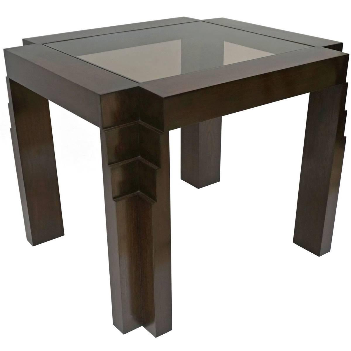 French Art Deco Oak Side Table with Stepped Block Legs and Glass