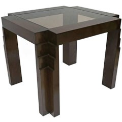French Art Deco Oak Side Table with Stepped Block Legs and Glass Top, circa 1930