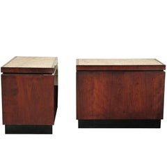 Pair of Granite Topped Side Tables