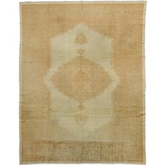 Pink and Golden Beige Antique Turkish Oushak Rug with Traditional Style