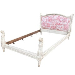 19th Century French Toile Bed with Elaborate Carving
