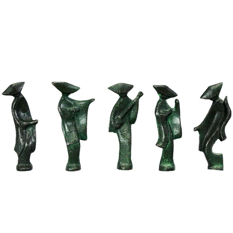 Patinated Cast Iron Geisha Figures Set of Five