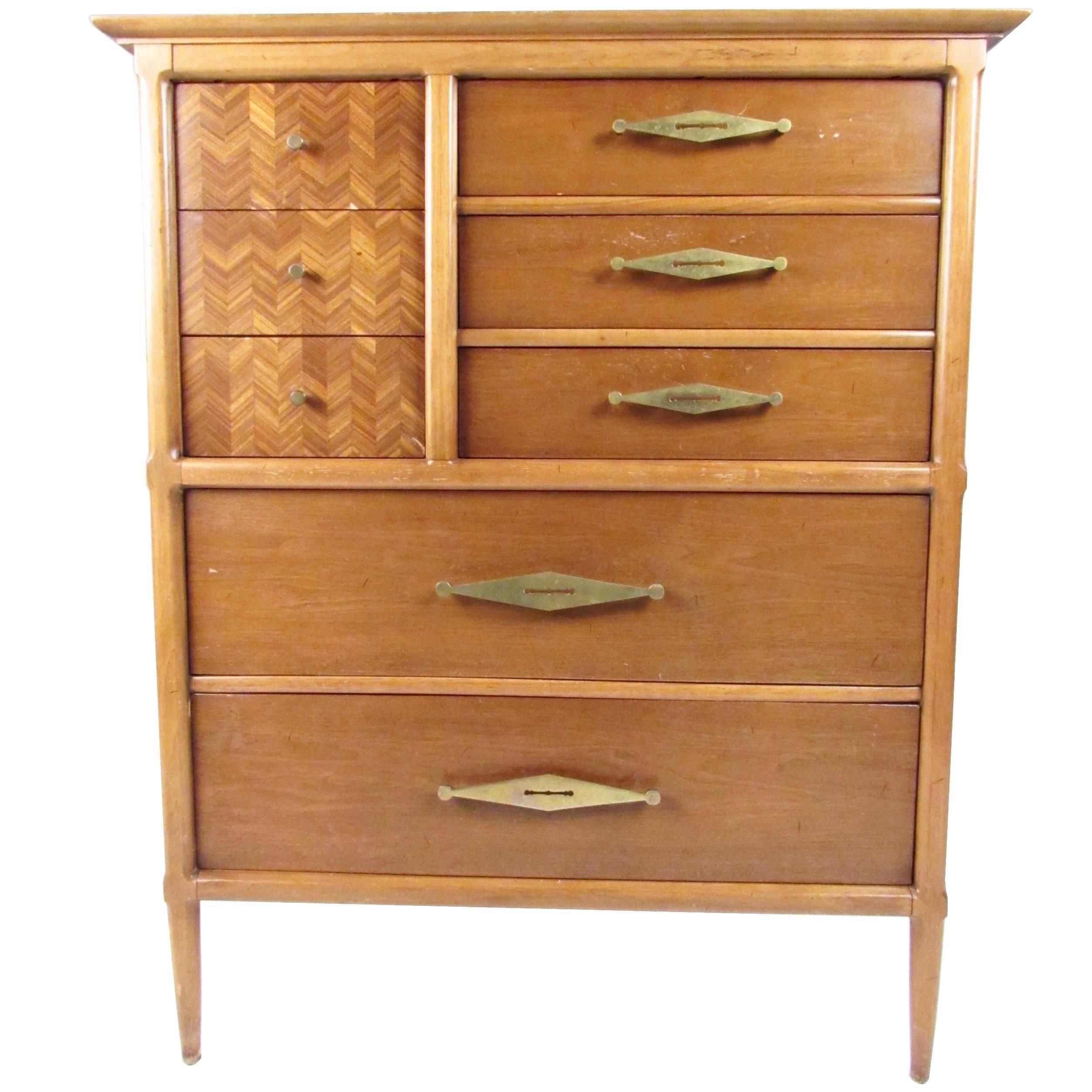 Captivating Vintage Modern Walnut Highboy Dresser