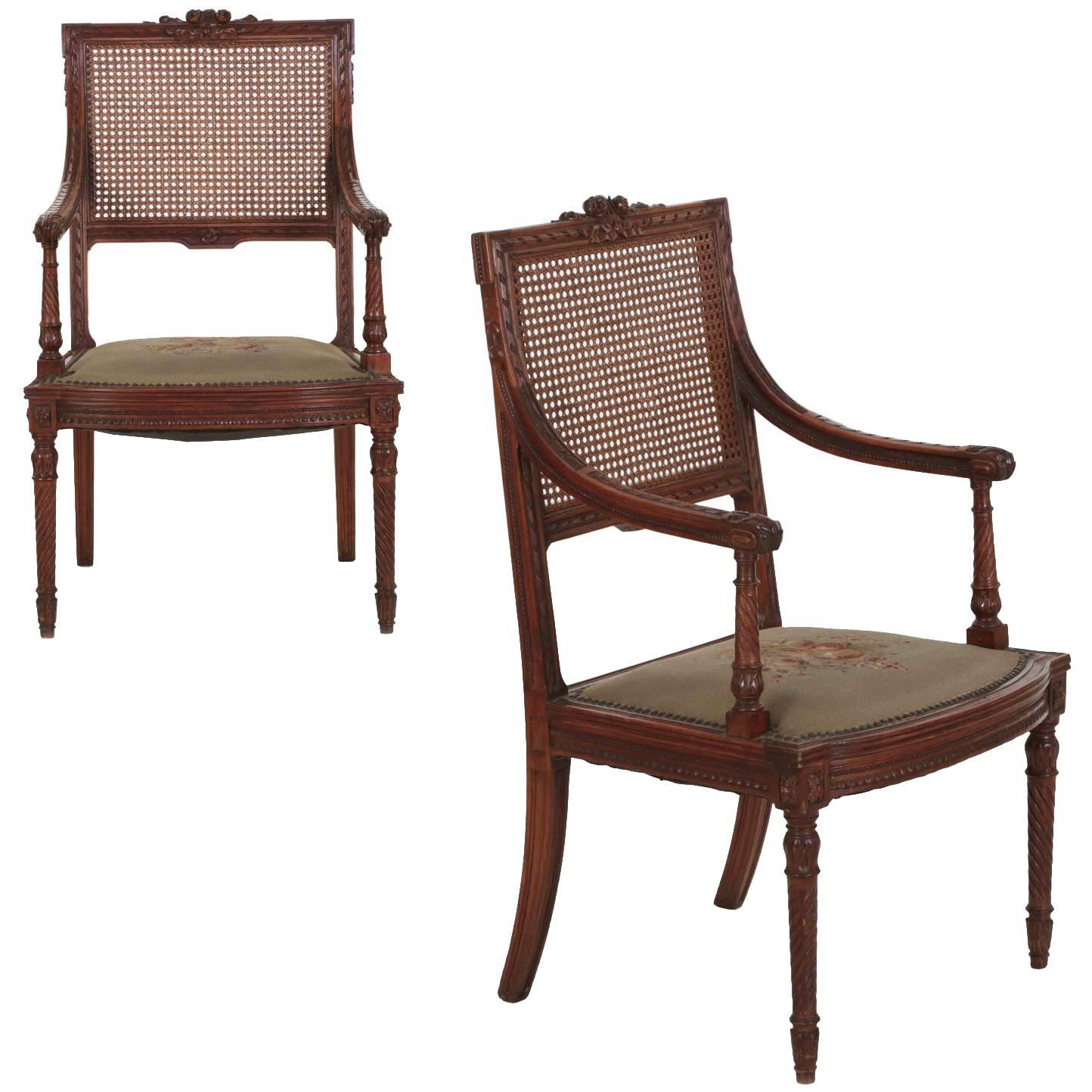 Pair Of French, Louis XVI Style Carved Walnut Antique Armchairs, Circa 1890  For Sale