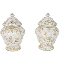 19th Century, Chinoiserie, Faience Lidded Urns