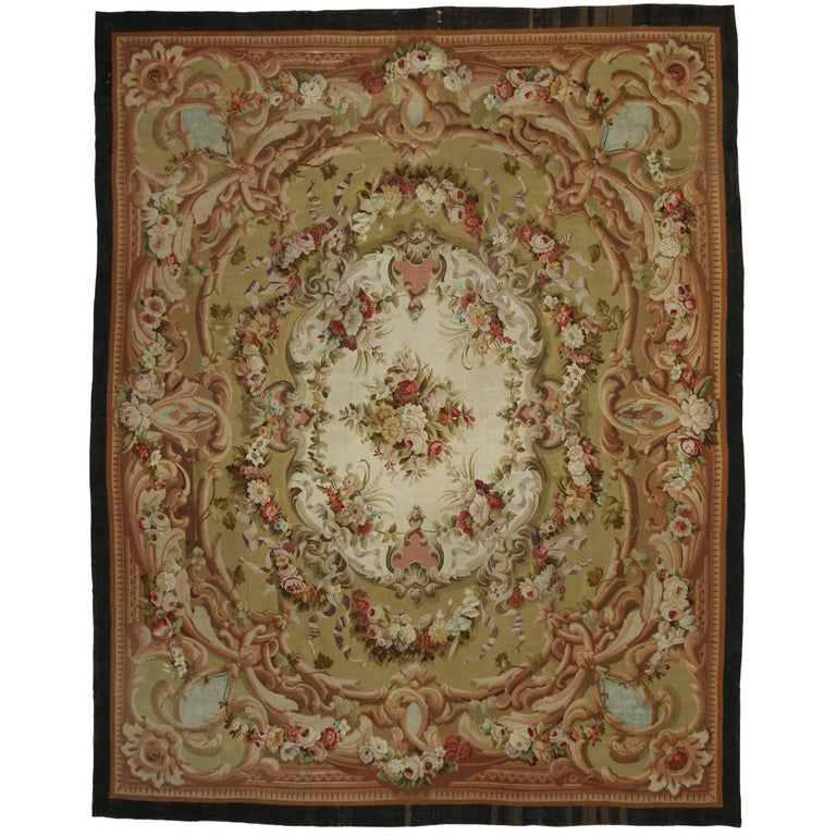 Antique French Aubusson Rug with French Provincial Style