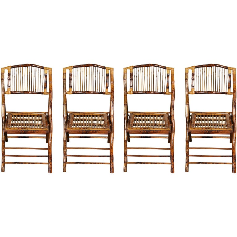 set of four vintage bamboo folding chairs at 1stdibs