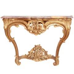 Louis XV Period Carved and Gilded Wood Provençal Console Table