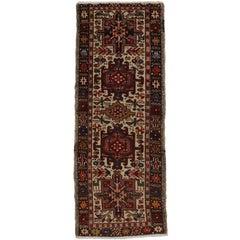Vintage Persian Heriz Karaja Runner, Short Hallway Tribal Style Runner
