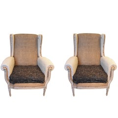 Pair of 19th Century Louis XVI Style Wingback Chairs