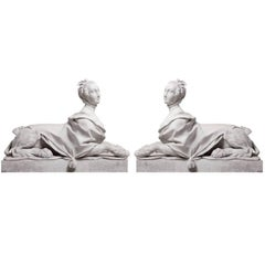 Pair of 19th Century Directoire Garden Sphinxes