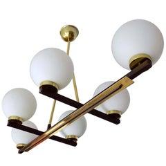 French Mid Century Linear Maison Arlus Chandelier, Stilnovo Style Pendant Lamp