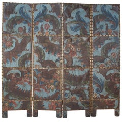 Baroque Spanish Blue Embossed, Gilt and Painted Leather Screen, circa 1700