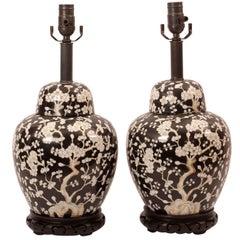 Pair of Vintage Black Ground Chinese Lamps, circa 1960