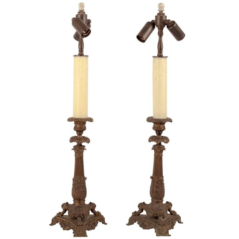 Pair of Bronze Candlesticks France 1825, Now Mounted as Lamps