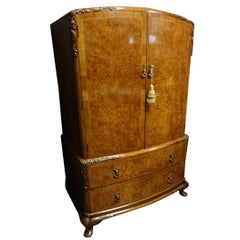Queen Anne Style Burr Walnut Linen Press of Small Proportions