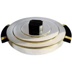 Art Deco Modernist Silver Plate Lidded Serving Dish