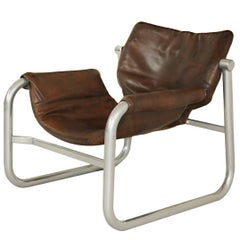 1960s Maurice Burke 'Alpha' Leather Sling Chair for Pozza, Brazil