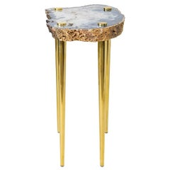 'Power of 10' Side Table in Quartz and Sold Brass by Christopher Kreiling