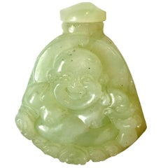 Green Jade Style, Serpentine Snuff Bottle Happy Buddha