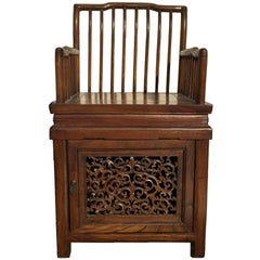 Chinese Antique Comb Back Chair with Storage