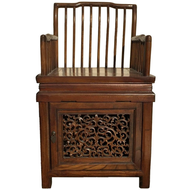 Chinese antique comb back chair with storage for sale at for Asian chairs for sale