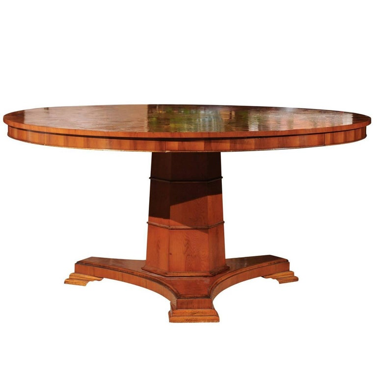 Regency Style Yew Wood Round Dining Table For Sale