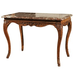 French Louis XV Period 18th Century Carved Wood Side Table with Red Marble Top