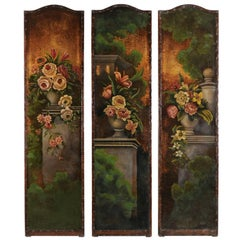 Set of Three English 19th Century Painted Leather Panels with Floral Decor
