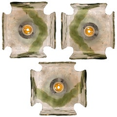 Four Handblown Flush Mounts, Wall Sconces from J.T. Kalmar, 1960s