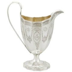 Antique 1790s Sterling Silver Cream Jug by Crispin Fuller