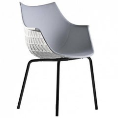 """Meridiana"" Leather and Steel Chair Designed by Christophe Pillet for Driade"