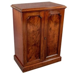 Antique Side Cabinet Cupboard Flame Mahogany English Victorian, circa 1880