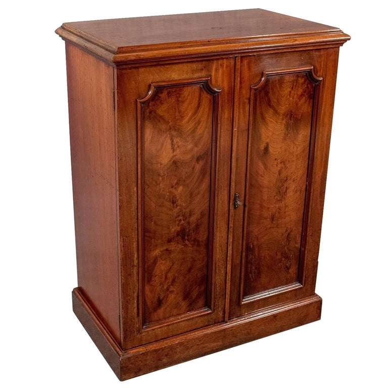 Antique Side Cabinet Cupboard Flame Mahogany English Victorian, circa 1880  For Sale - Antique Side Cabinet Cupboard Flame Mahogany English Victorian