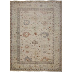 Oushak Design Rug with Transitional Style in Light Colors