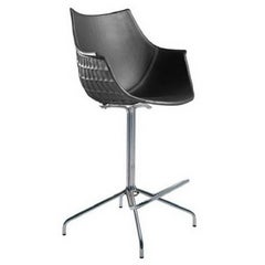 """""""Meridiana"""" Leather and Steel Stool Designed by Christophe Pillet for Driade"""