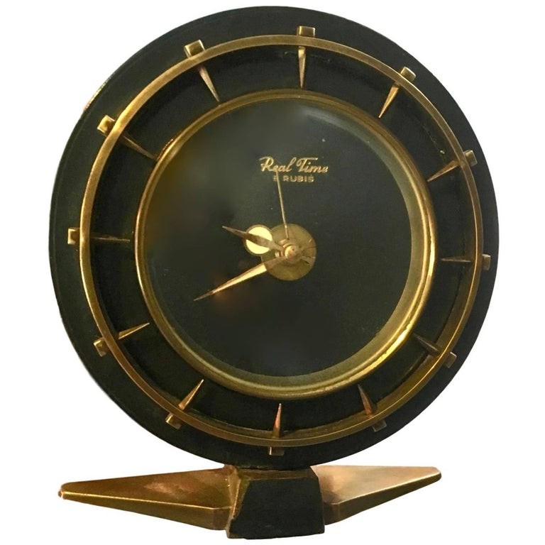 Adnet Style Brass and Leather Clock