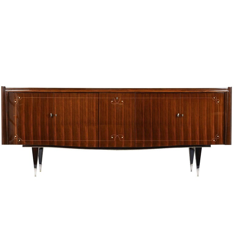 French Art Deco Macassar Ebony Buffet with Center Dry Bar For Sale