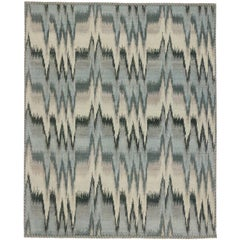 Contemporary 'Pulsatio Maris' Ikat Rug with Modern Design