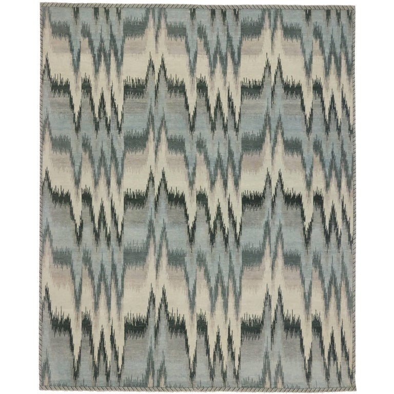 Contemporary 'Pulsatio Maris' Ikat Rug with Modern Design