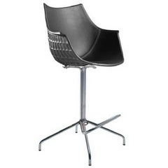"""""""Meridiana"""" Leather and Steel Swivel Low Stool by Christophe Pillet for Driade"""