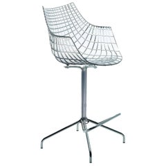 """""""Meridiana"""" Polycarbonate and Steel Swivel Low Stool by C. Pillet for Driade"""