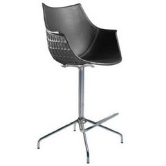 """""""Meridiana"""" Leather and Steel Swivel High Stool by Christophe Pillet for Driade"""