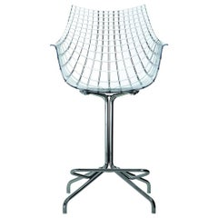 """""""Meridiana"""" Polycarbonate and Steel Swivel High Stool by C. Pillet for Driade"""