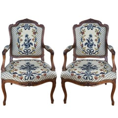 Very Special Pair of Louis XV Style French Walnut Armchairs