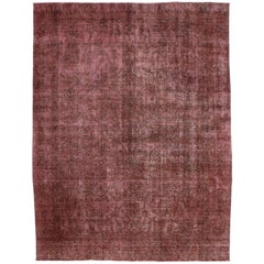 Distressed Vintage Persian Overdyed Dark Red Rug with Modern Industrial Style